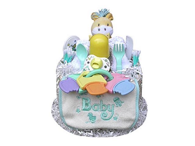 Babygiftidea Centerpiece Newborn Baby Shower Gift 1 Tier Neutral Diaper Cake