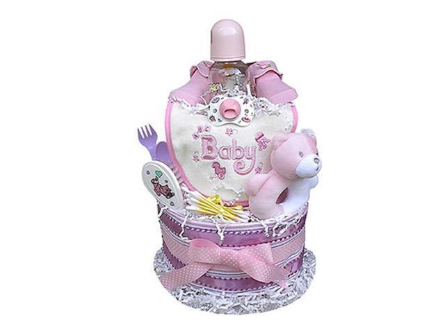 Babygiftidea Centerpiece Newborn Baby Shower Gift 2 Tiered Girl's Diaper Cake