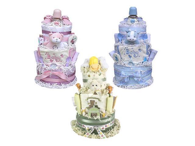 Babygiftidea Centerpiece Newborn Baby Shower Gift 3 Tiered Diaper Cake- Neutral