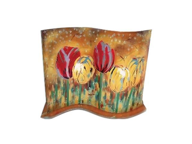 GW Schleidt Home Decor Handcrafted Multi Color Glass Fusion Accent Lamp Field Tulips Style