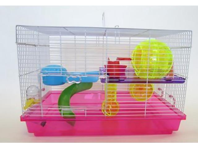 YML Dwarf Hamster, Mice Cage with Color Accessories, Pink - H1812PK