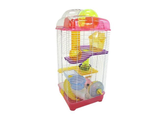 YML 3 Level Clear Plastic Dwarf Hamster, Mice Cage, Ball on Top, Pink - H3030PK