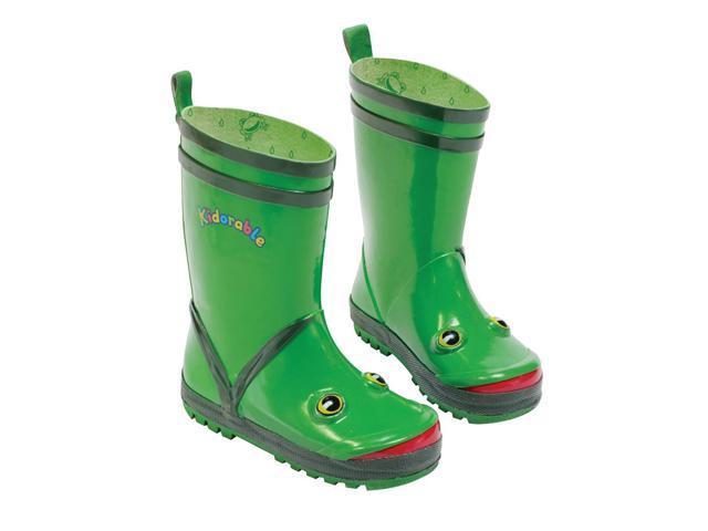 Kidorable Kids Children Indoor Outdoor Play Rubber Green Frog Rain Boots Size 7