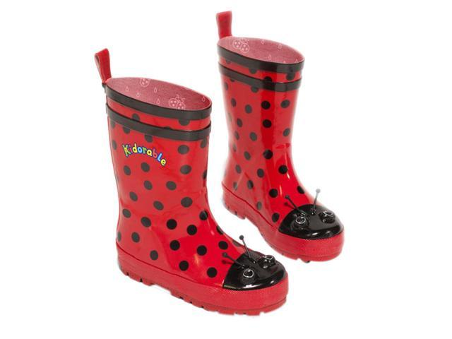 Kidorable Kids Children Indoor Outdoor Play Rubber Red Ladybug Rain Boots Size 11
