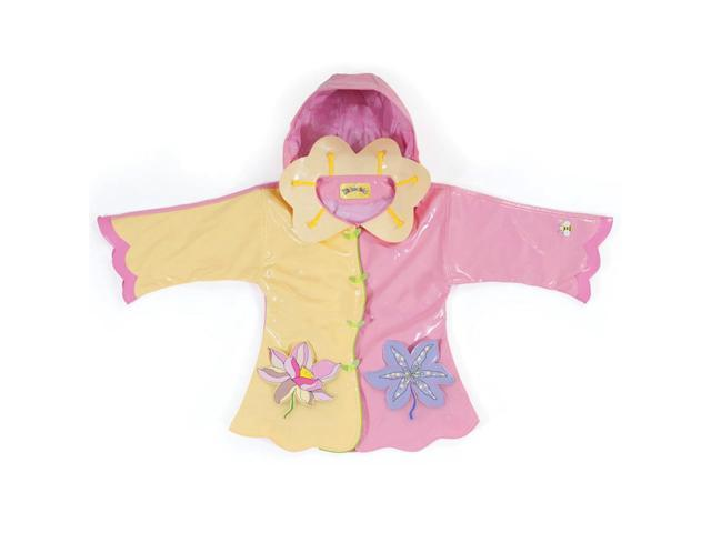 Kidorable Kids Children Outwear Yellow/Pink Lotus PU Coats Size 4T