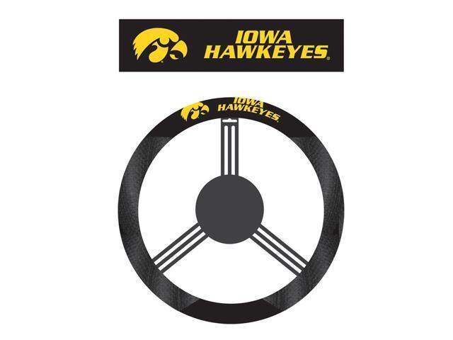 Fremont Die College Sports Team Logo Iowa Hawkeyes Poly-Suede Steering Wheel Cover