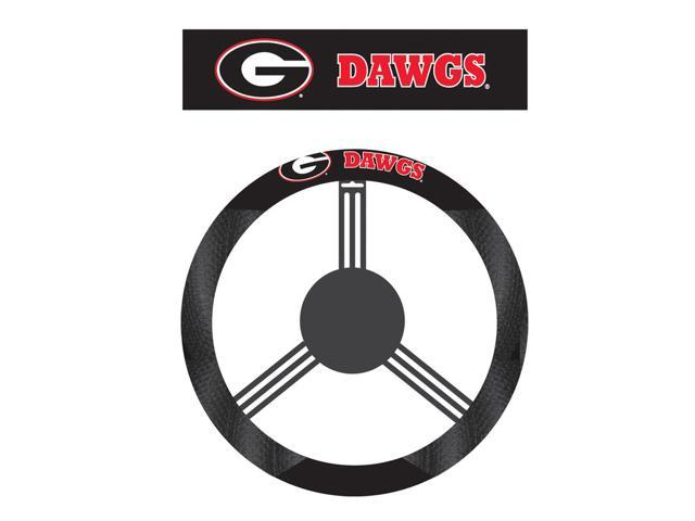 Fremont Die College Sports Team Logo Georgia Bulldogs Poly-Suede Steering Wheel Cover
