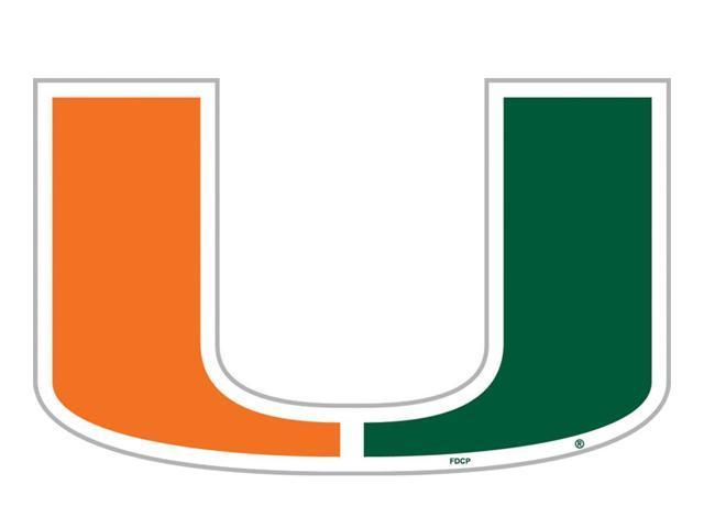 Fremont Die College Sports Team Logo Miami Hurricanes Door Stick Vinyl Magnet