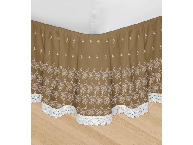 Veratex Decorative Bedding Set Huys-Embroidery Huys Bed Ruffle D.King Taupe