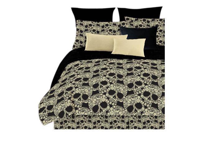 Veratex Home Decorative Bedding Flower Skulls Sheet Set D.King Black/Tan
