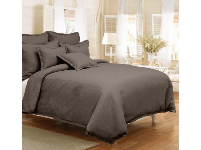 Veratex Home Decorative Bedding Gotham Linen Duvet Set Full/Queen Java