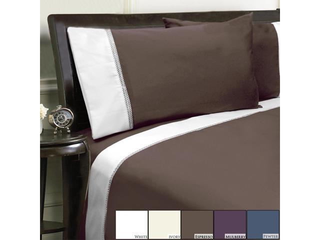 Veratex Home Decorative Bedding Collection Duet 800Tc Pillowcase Pair King Espresso