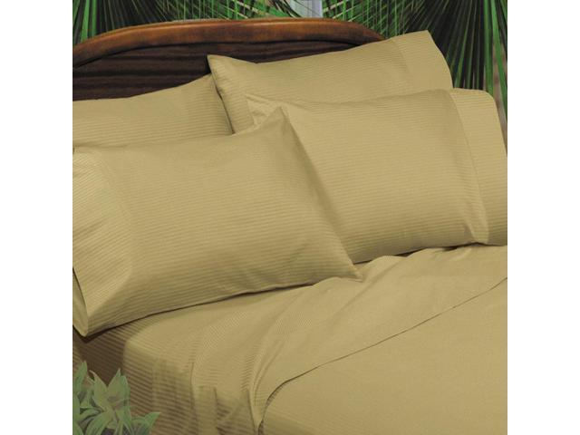 Veratex Home Decorative Bedding Collection Medici Dobby Stripe Wheat Sheet Set D.King Wheat