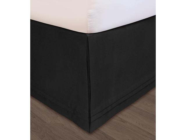 Veratex Home Decorative Bedding Collection Huys Matte Satin Huys Bed Ruffle Queen Black