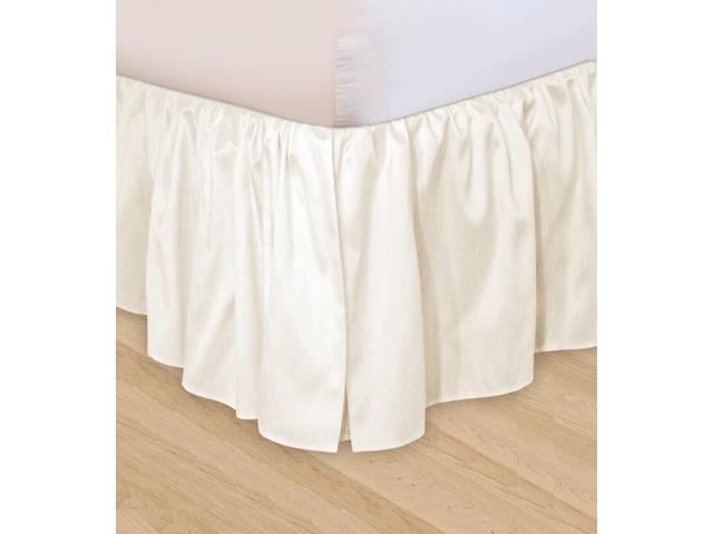 Veratex Home Decorative Bedding Collection Huys Ruffled Faux Silk Huys Bed Ruffle D.King Ivory