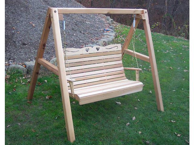 Creekvine Designs Outdoor Garden 4' Cedar Royal Country Hearts Porch Swing with Stand