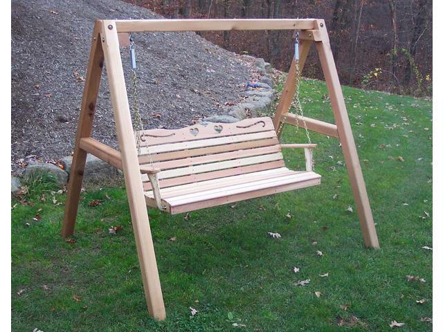 Creekvine Designs Outdoor Patio Garden 4' Cedar Country Hearts Porch Swing with Stand