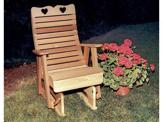 Creekvine Designs Home Outdoor Cedar Royal Country Hearts Glider Chair