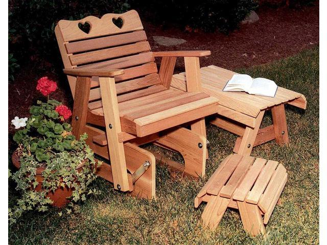 Creekvine Designs Home Outdoor Cedar Country Hearts Rocking Glider Chair