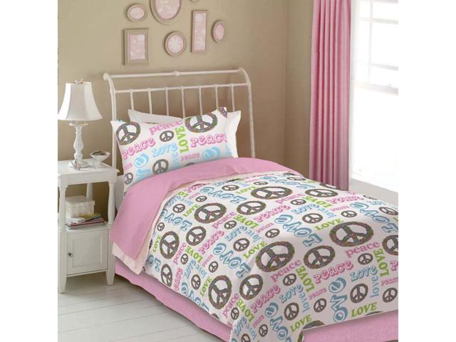 Veratex Indoor Decorative Bedding Accessories Peace And Love Sheet Set Queen Pink