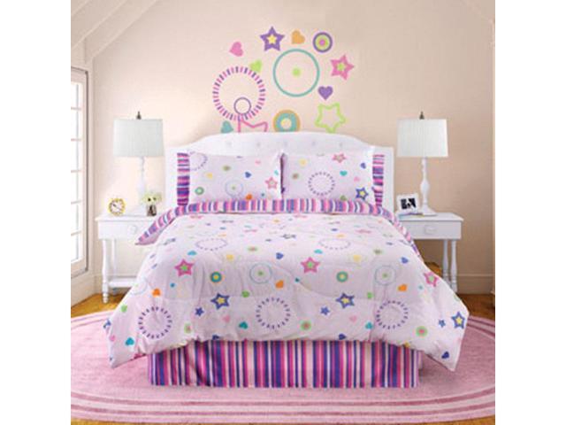 Veratex Home Bedroom Decorative Designer Star Dance Bedding Sheet Set Queen Pink Multi