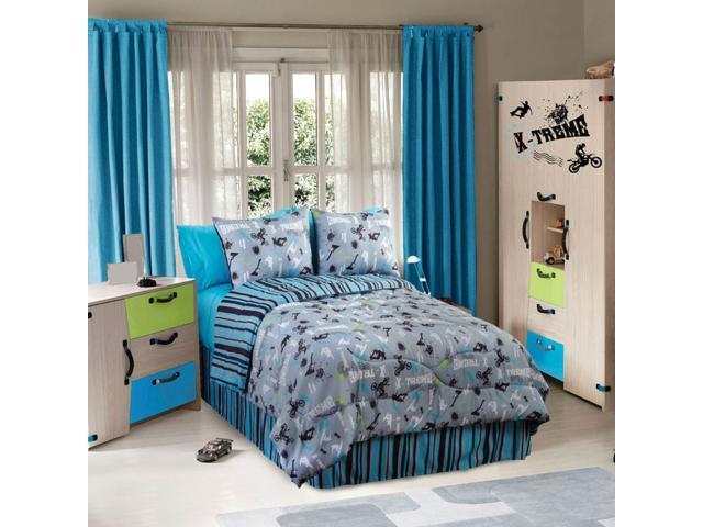 Veratex Home Decorative On The Edge Bedding Sheet Cover Set Queen Stripe/Blue/Blk