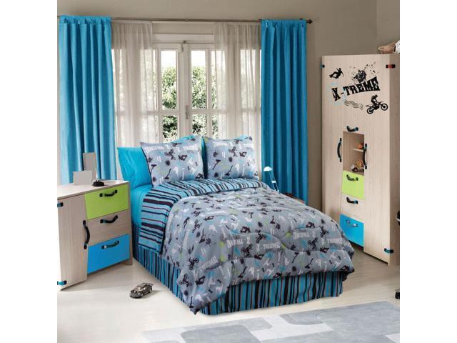 Veratex Indoor Bedroom Decorative Bedding Accessories On The Edge Comforter Set Queen Graphite