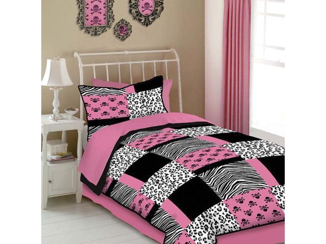 Veratex Home Decorative Bedding Accessories Pink Skulls Comforter Set Full Pink