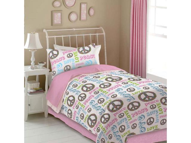 Veratex Indoor Decorative Bedding Accessories Peace And Love Comforter Set Full Pink/White