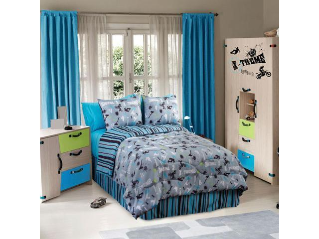 Veratex Home Indoor Bedroom Decorative On The Edge Bedding Sheet Cover Set Twin Stripe/Blue/Blk