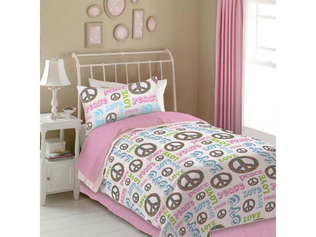 Veratex Home Decorative Bedding Accessories Peace And Love Comforter Set Twin Pink/White