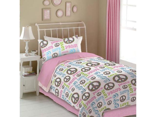 Veratex Home Decorative Bedding Accessories Peace And Love Comforter Set Queen Pink/White