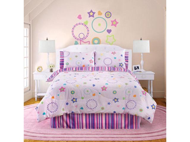 Veratex Home Bedroom Decorative Designer Star Dance Comforter Set Queen Pink Multi
