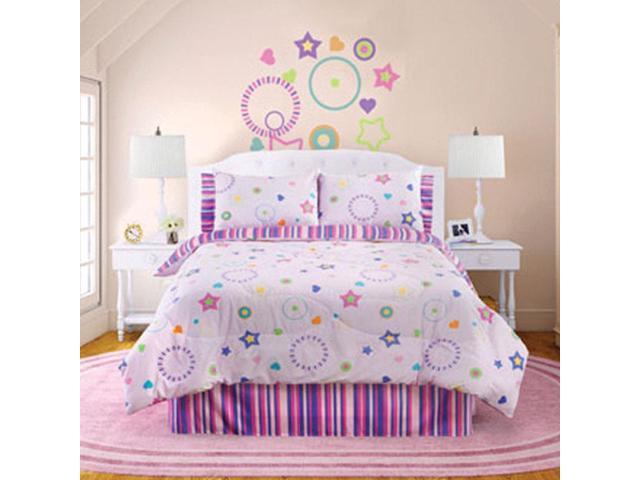 Veratex Home Bedroom Decorative Designer Star Dance Comforter Set Full Pink Multi