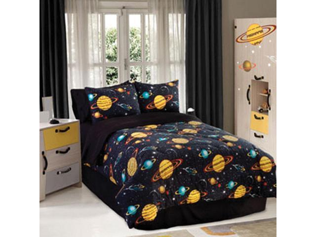 Veratex Home Bedroom Decorative Designer Rocket Star Comforter Set Queen Black Multi