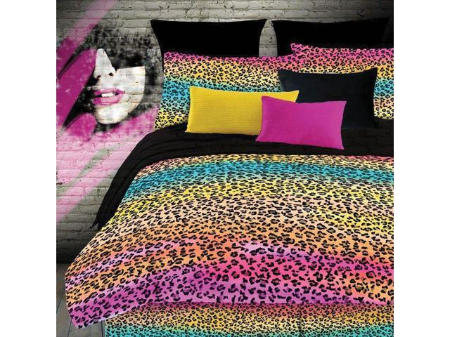 Veratex Home Bedroom Decorative Designer Rainbow Leopard Comforter Set Queen Multi