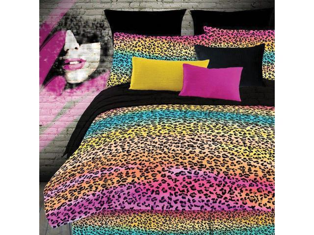 Veratex Home Bedroom Decorative Designer Duvet Accessories Rainbow Leopard Comforter Set Twin Multi