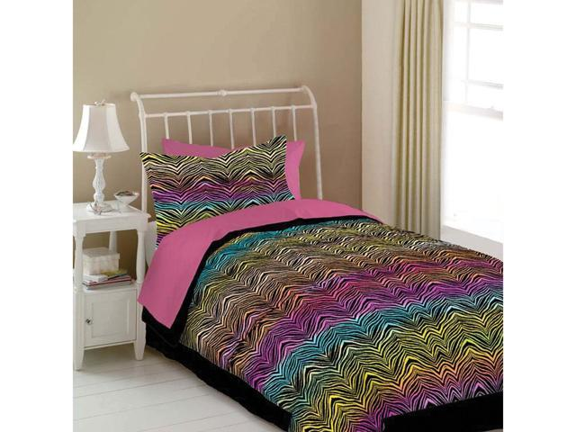 Veratex Home Bedroom Decorative Designer Rainbow Zebra Comforter Set Queen Rainbow