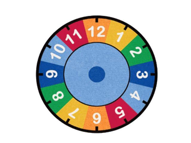 Learning Carpets Indoor Outdoor Playmat Clock - CPR529 Round 6'6