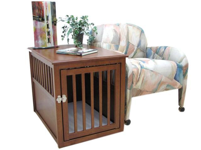Crown Pet Home Indoor Crate Table, Large Size, with Mahogany Finish