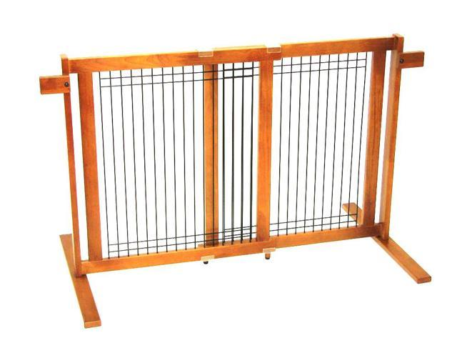 Crown Pet Home Indoor Freestanding Wood/Wire Pet Gate with Security Arms, Small Span