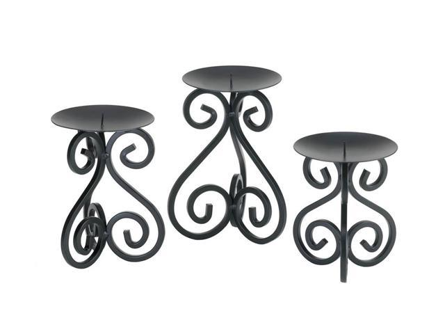 Koehler Home Kitchen Decorative Gift Scrollwork Candle Holders Stand Trio