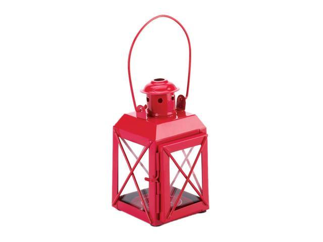 Koehler Home Kitchen Decorative Gift Red Railway Candle Lantern Lamp