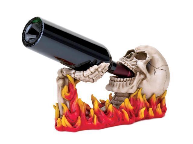 Koehler Home Kitchen Decorative Gift Flaming Skull Wine Holder