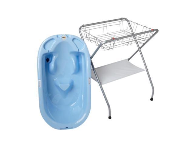 Primo EuroBath  and Folding Bath Stand -Blue Bath / Gray Stand