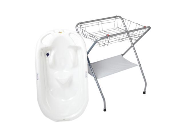 Primo EuroBath  and Folding Bath Stand -White Bath / Gray Stand