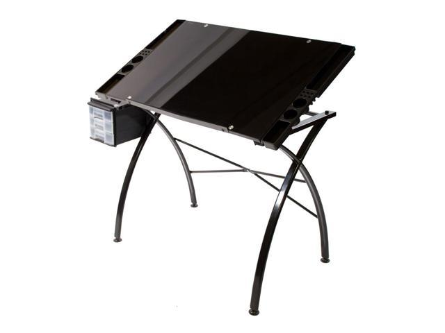 Generic Dezign Line Drawing Table with Glass Top Table and Work Side Trays