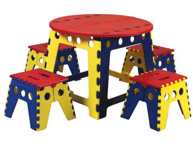 Generic Kid's Legacy Colorful Folding Table Set with 4 stools