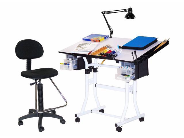 Generic Creation Station 4 pc Combo Table Package with Drafting high chair
