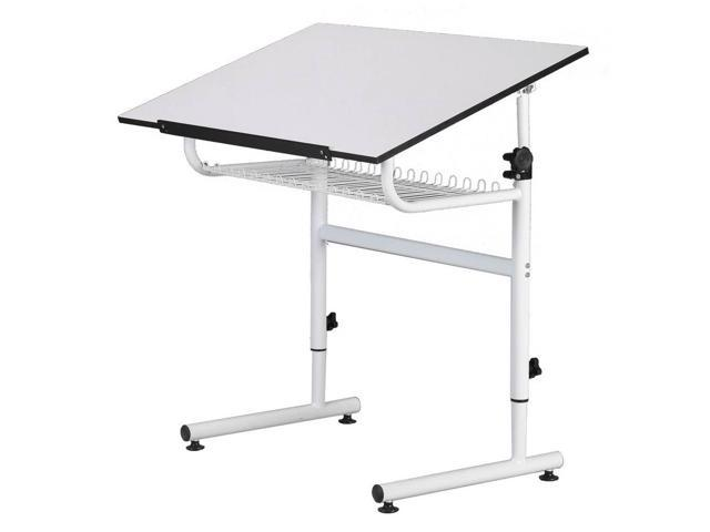 Generic Universal Design White Gallery Drafting Art-Hobby Table - Storage Shelf